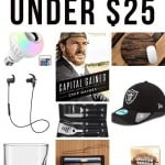 Collage of bulb, Capital Gaines book, wooden mouse pad, earphones, grilling set, cap, wine glass, wallet and burger presser with text overlay that says Gifts for Him Under $25