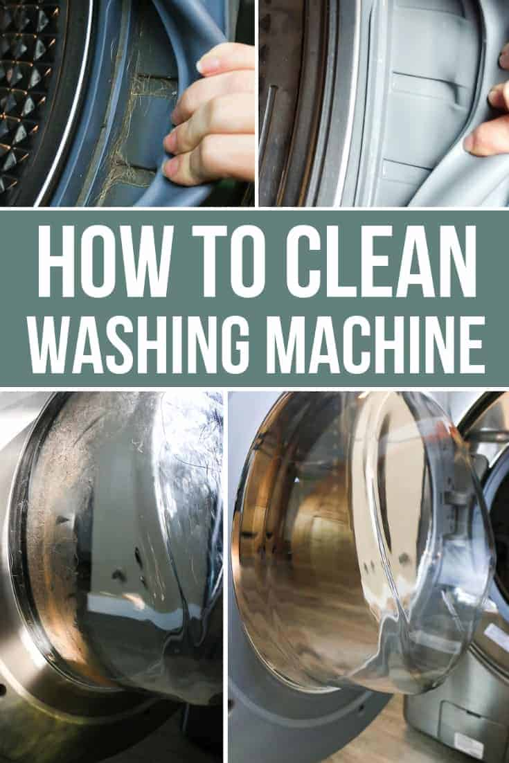 Before image of dirty rubber gasket and after image of clean rubber gasket and dirty washing machine glass door vs clean washing machine glass door with text overly that says How to Clean Washing Machine