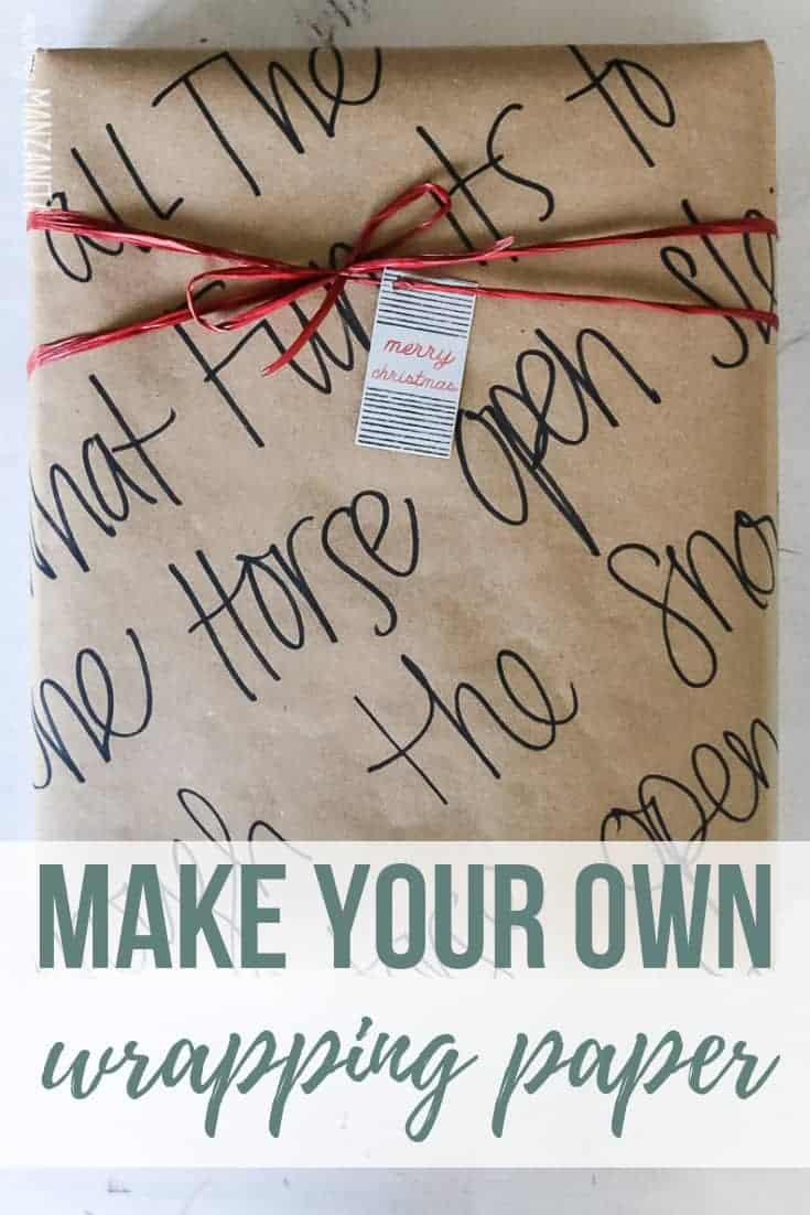 Gift wrapped with tan kraft paper with song lyrics written all over it with black marker with text overlay that says Make your own wrapping paper