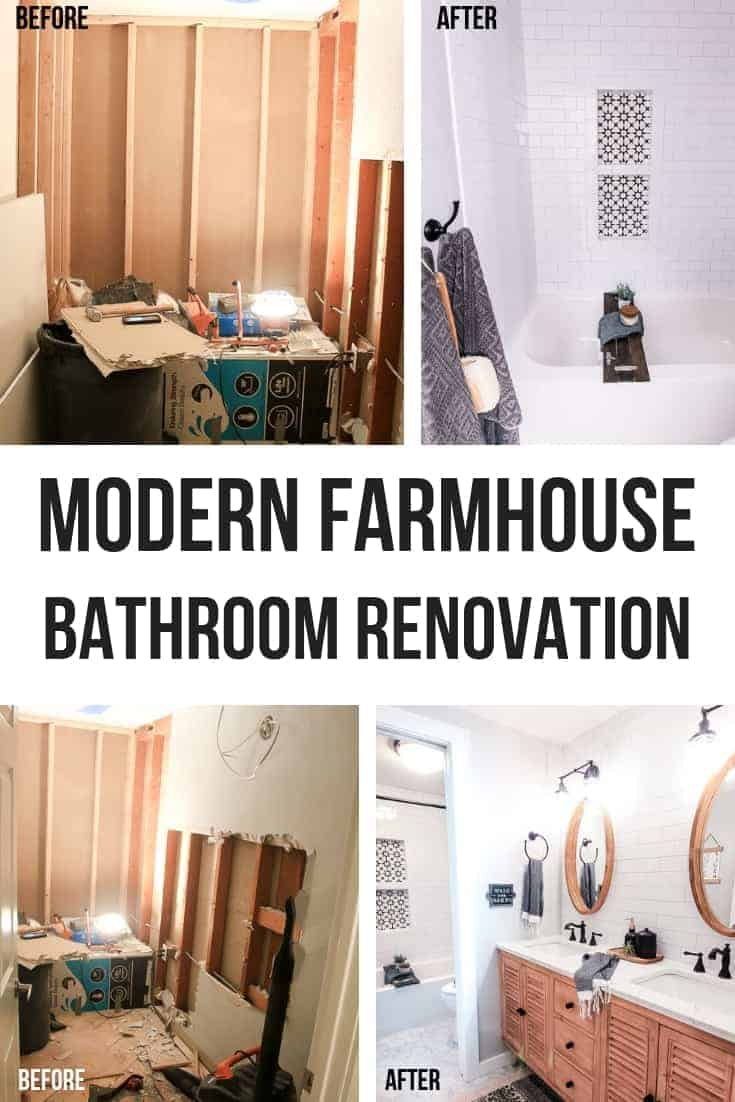 before and after photos of a modern farmhouse bathroom renovation