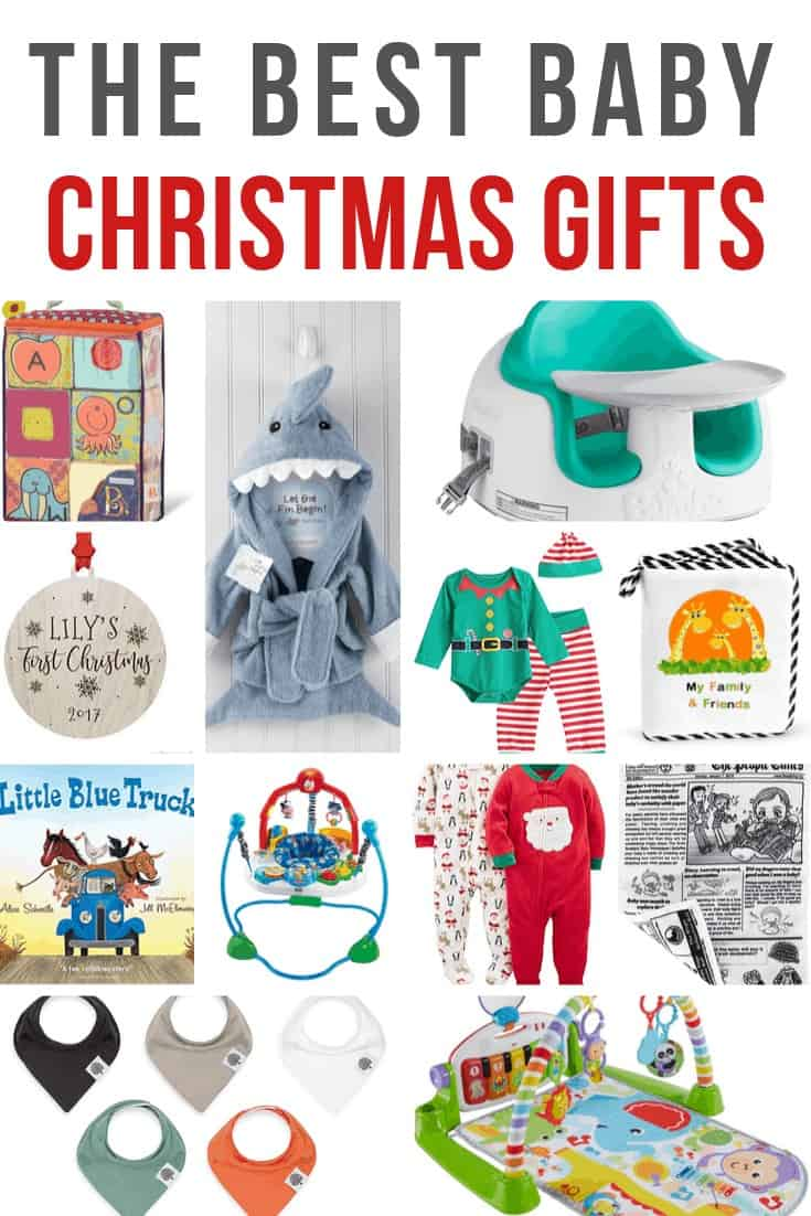 Collage of ABC block, shark bathrobe, bumboo seat, baby ornament, elf outdit, felt book, Baby book, Jumperoo, Christmas onesies, crumpled papers, bibs, playmat with text overlay that says The Best Baby Christmas Gifts
