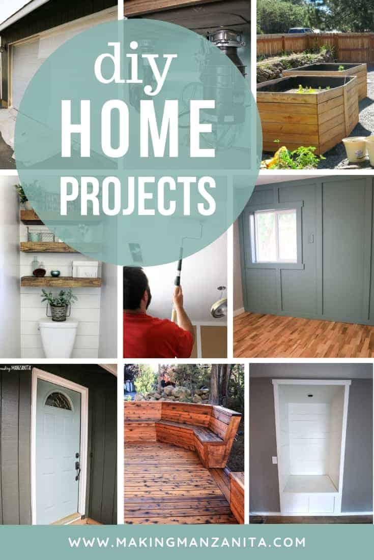 Collage of renovation projects with text overlay that says DIY home projects