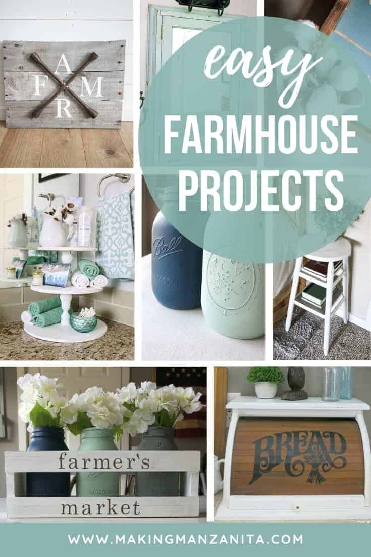 Collage of farmhouse style craft projects with text overlay that says easy farmhouse projects