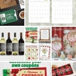 Collage of coffee gift certificate, calendar, wine labels, Christmas card, mason jar labels, Christmas coupons, chocolate labels with text overlay that says Printable Chritmas Gifts