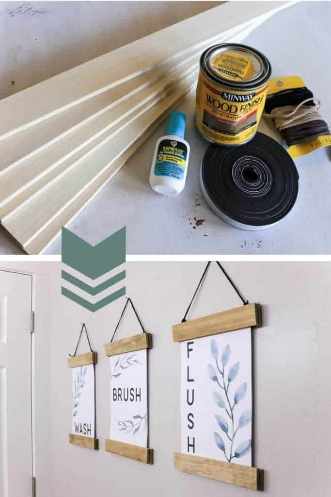 Supplies shown in top photo and finished DIY picture frames hanging in bathroom holding wash brush flush printables in bottom picture