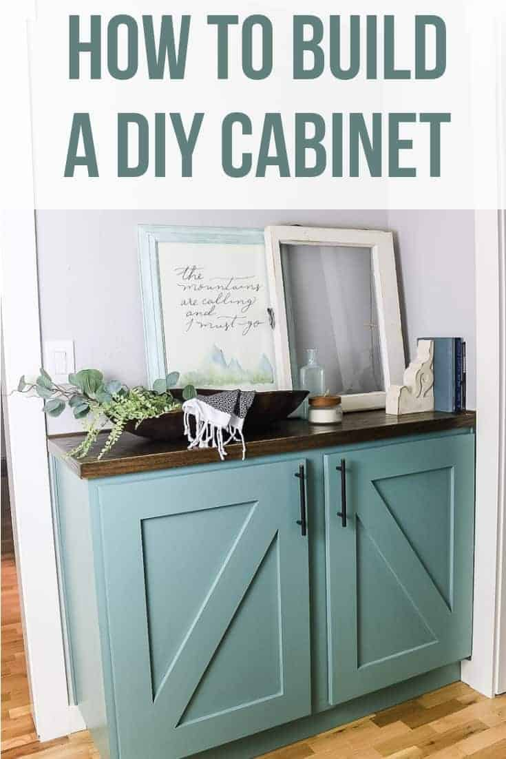 Painted cabinet built into hallway for extra storage decorated with farmhouse style decor with text overlay that says how to build a DIY cabinet