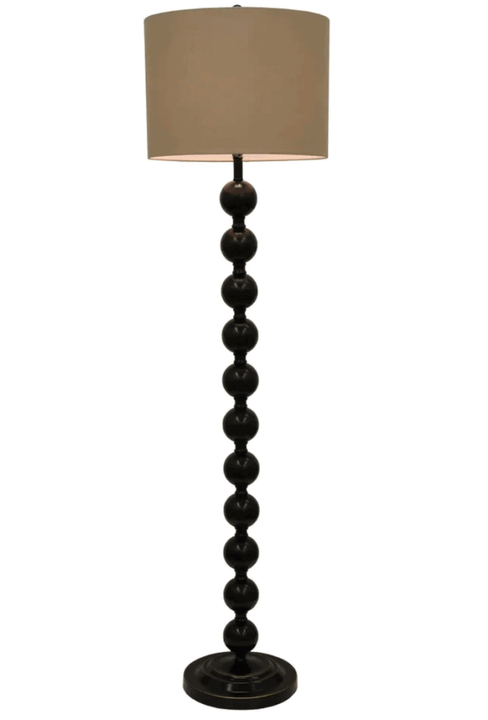 Stacked ball base with dark bronze finish lamp for floor with round faux silk shade
