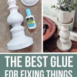 Showing how to fix a broken candleholder with the best glue for fixing things around your house