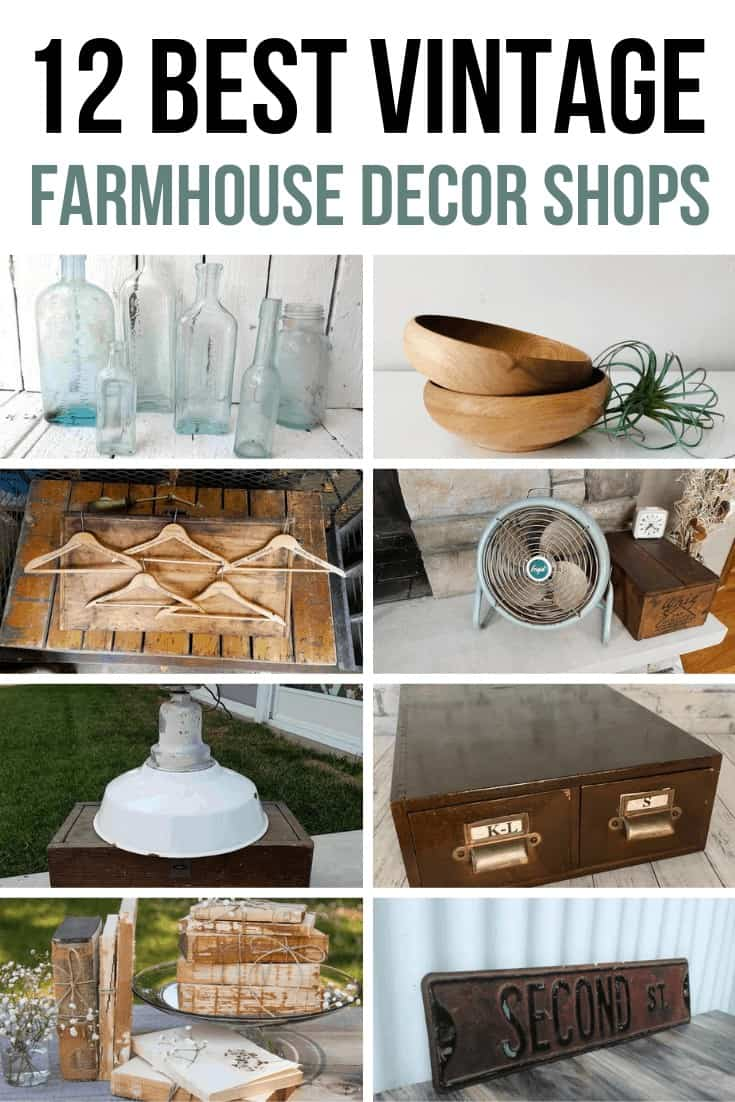 Old bottles, wooden bowls, vintage hotel hangers, frigid adjustable metal, old fan, and wooden card catalog in a collage with text overlay that says 12 Best Vintage Farmhouse Decor Shops on Etsy