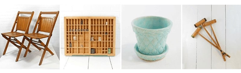 Wooden foldable chairs, vintage shelf, blue pot, wooden mallet in a collage with white background.