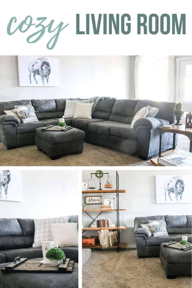 Collage of living room pictures showing large gray sectional couch, coffee tray on ottoman and farmhouse shelving unit with text overlay that says cozy living room