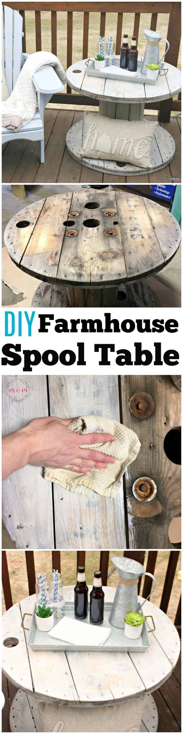 Four image collage showing DIY farmhouse spool table getting redone and then staged on a porch with chairs and drinks