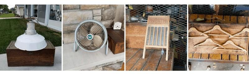Vintage porcelain westinghouse, frigid adjustable metal fan, iron washboard, old hotel hangers