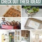 Collage of vintage decor in the home like a vintage rug in bathroom, vintage silver as succulent planter, vintage crate with rolling pins, old fabric in frame, lockers in office, old tubs as a sink in laundry room and dresser as a vanity in bathroom with text overlay that says love vintage decor, check out these ideas