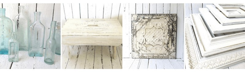 Vintage bottles, wooden bench, vintage tin ceiling and old wooden frames in a collage with white background.