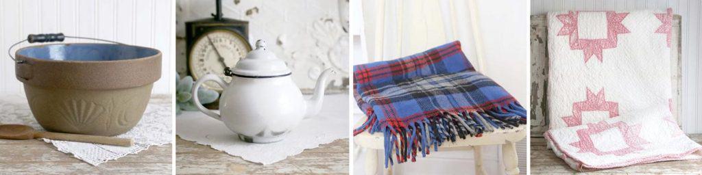 Vintage bowl, tea kettle, plaid blanket and handmade vintage pink and white quilt