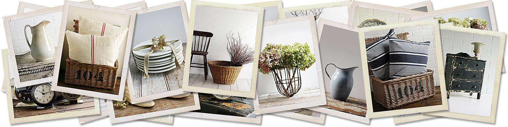 Vintage pillows, plates, basket, plant vase, tin pitcher and drawer in a collage.