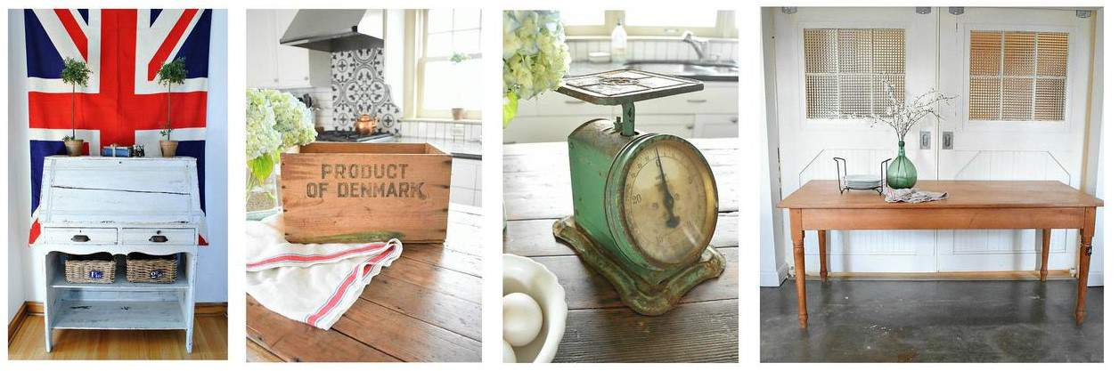 Vintage cabinet, wooden storage box, old weighing scale, wooden table in a collage with white background.