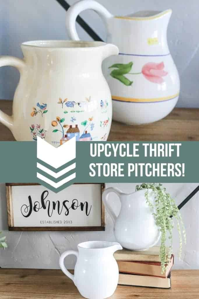 Before and after picture of farmhouse style thrift store upcycle with pitchers and spray paint