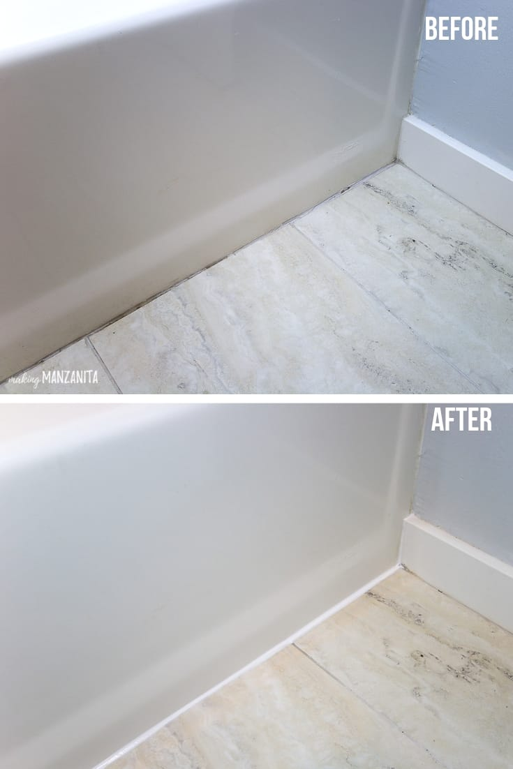 Before and after image of caulk in bathroom along the edge of bathtub after it gets redone