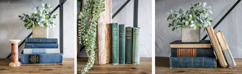 vintage books styled on a shelf with faux greenery from vintage etsy shop called Manzanita Exchange