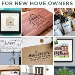 Collage of gifts for housewarming presents with text overlay that says 13 practice housewarming gifts for new home owners