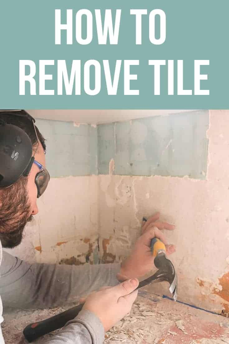 Man chipping away tile mortar doing tile removal with text overlay that says how to remove tile