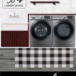 Mood board showing faux brick wall with shelves, folding counter and farmhouse utility sink in laundry room with text overlay that says modern farmhouse laundry room design
