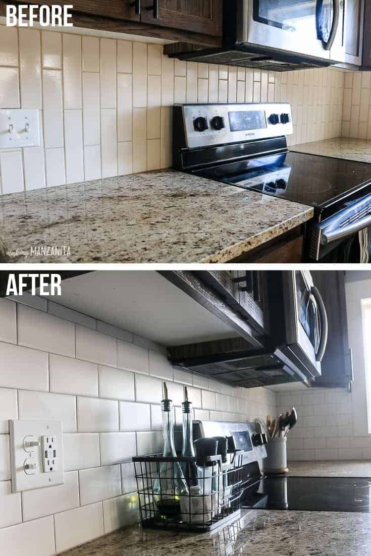 Before and after subway tile pictures in kitchen with stainless steel appliances and tan granite countertops showing a tan backsplash getting replaced with a white subway tile backsplash with gray grout