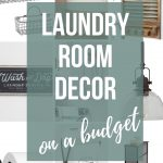 Background shows photo collage of products with text overlay that says laundry room decor on a budget