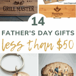 shoes 4 gift ideas for dad, such as, a key ring, BBQ kits, and a wood family picture with over lay text that says 14 father's day gifts less than $50