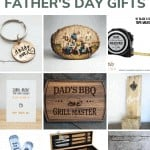 shows 9 different father's day gift ideas with text at the top that says 14 unique father's day gifts