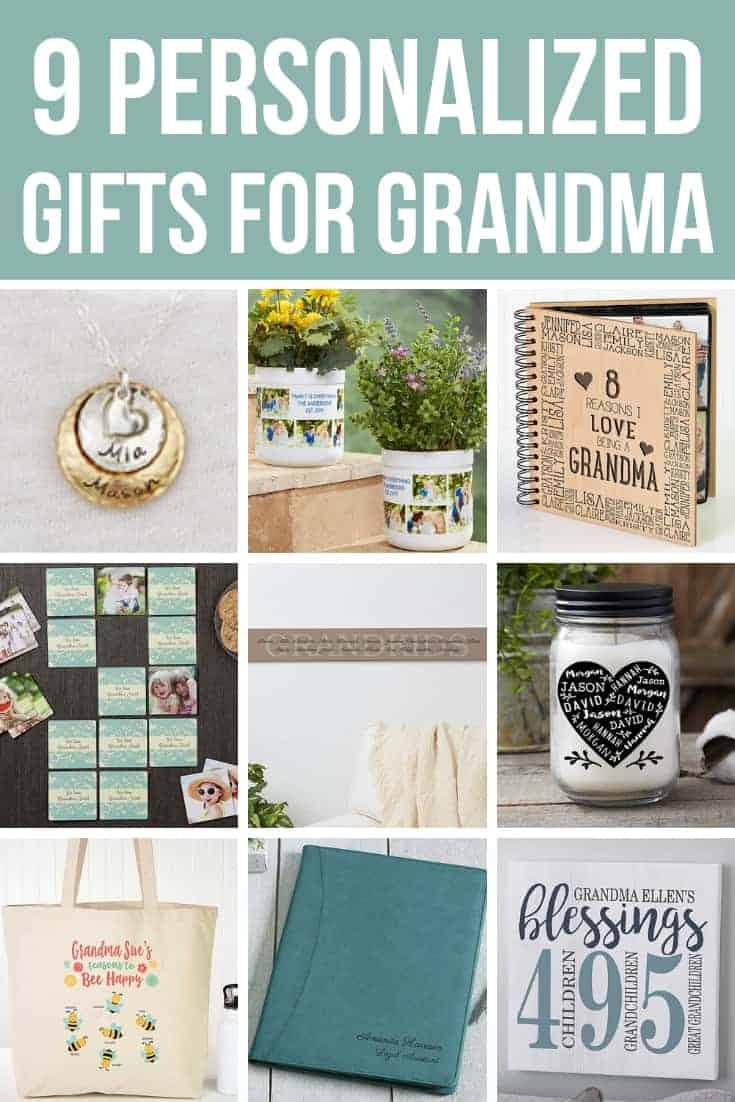 Collage of gifts with text overlay that says 9 personalized gifts for Grandma