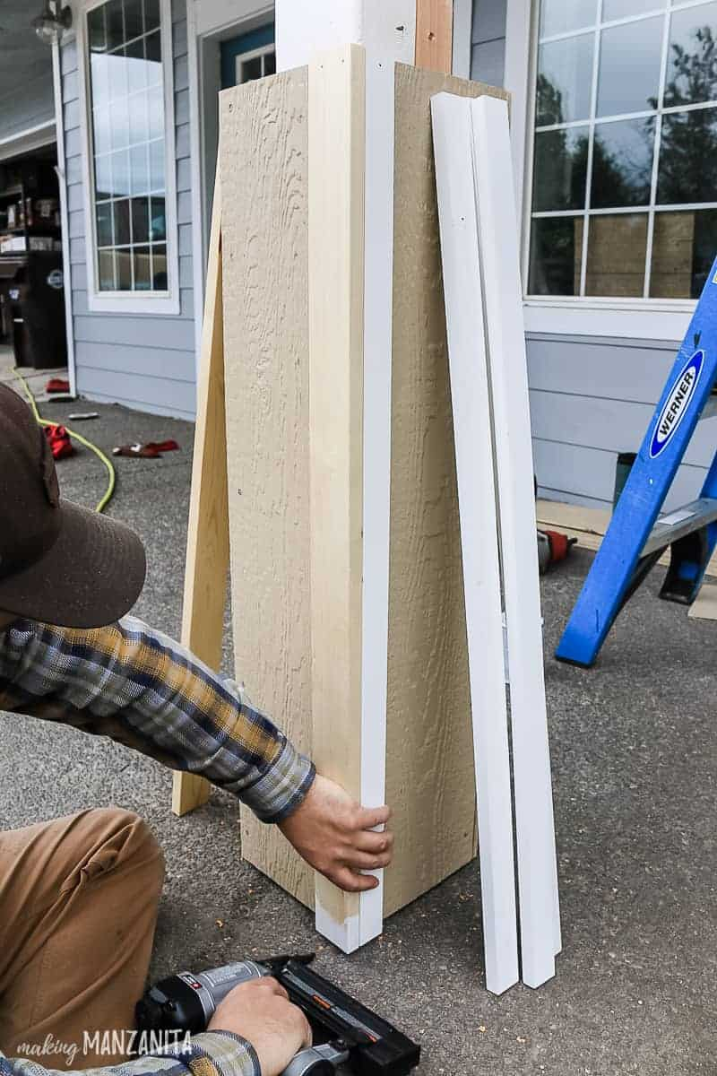 Nailing trim to the corner of DIY porch posts