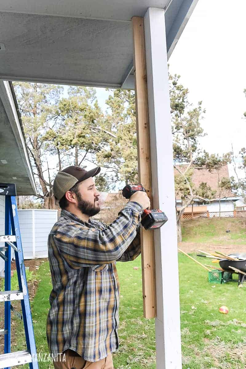 Squaring out skinny rectangular porch posts with 2x3'x and DIY porch column sleeves