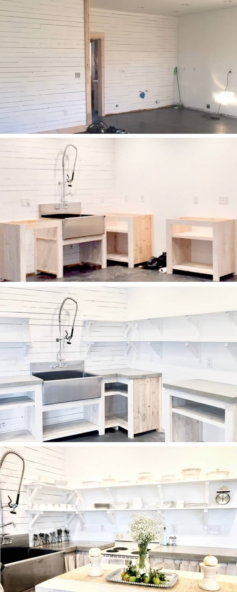 Photo collage showing the steps for building a DIY kitchen with white shiplap walls, DIY cabinets, open shelving, a large farmhouse stainless steel sink and concrete countertops with farmhouse decor
