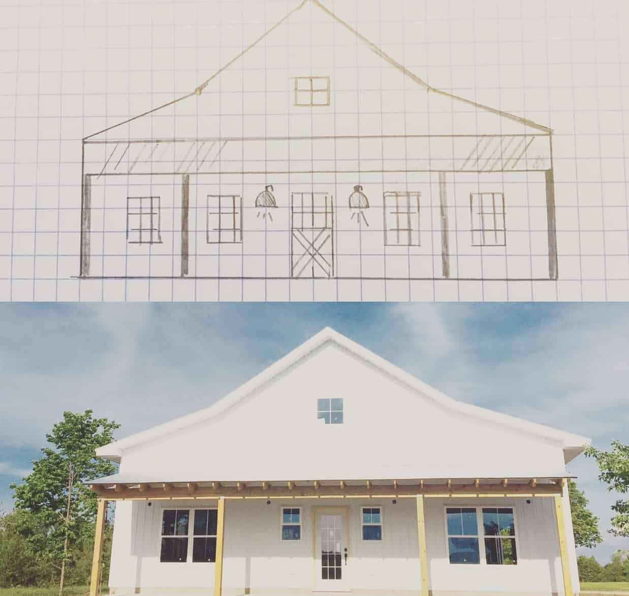 Top of photo shows a hand drawn sketch of a farmhouse and bottom shows the DIY house built with white siding and a covered porch with wooden posts