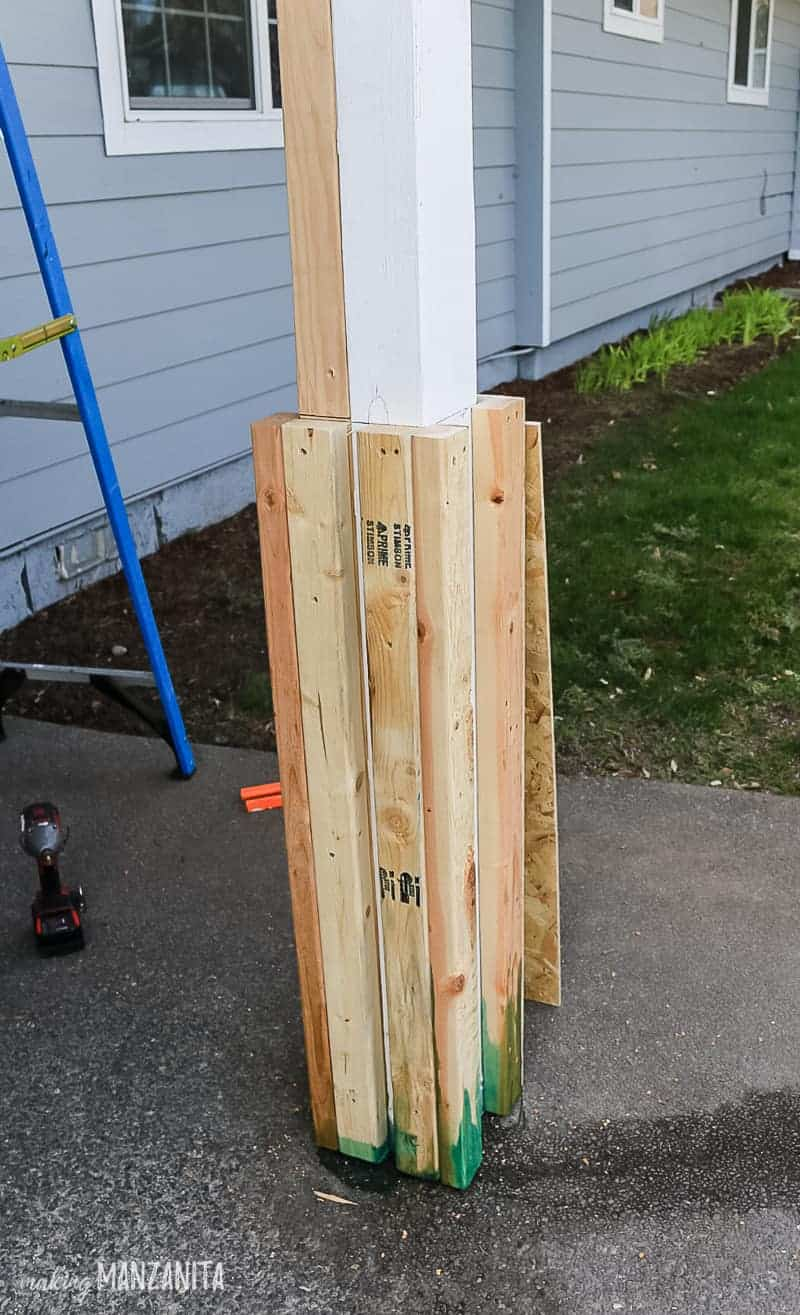Beefed out bottom portion of porch posts with 2x3s