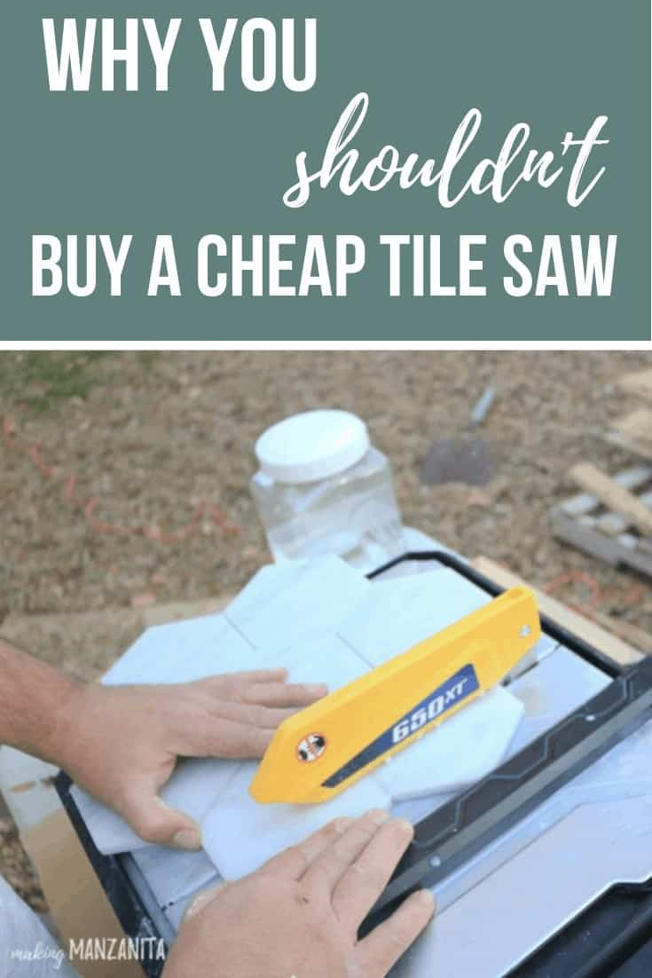 Man cutting marble hexagon tiles with a wet tile saw with text overlay that says why you shouldn't buy a cheap tile saw