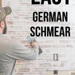 Man adding german schmear finish to fake brick wall panels with a trowel with text overlay that says easy german schmear