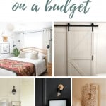 Photo collage with modern bedroom, barn door, farmhouse bedroom with ladder as nightstand, dark walls in moody bedroom with text overlay that says small bedroom ideas on a budget