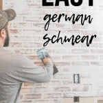 Man applying joint compound over fake brick wall paneling with text overlay that says easy german schmear
