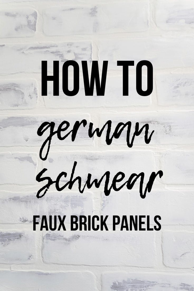 Close up image of whitewashed brick wall in background with text overlay that says how to german schmear faux brick panels