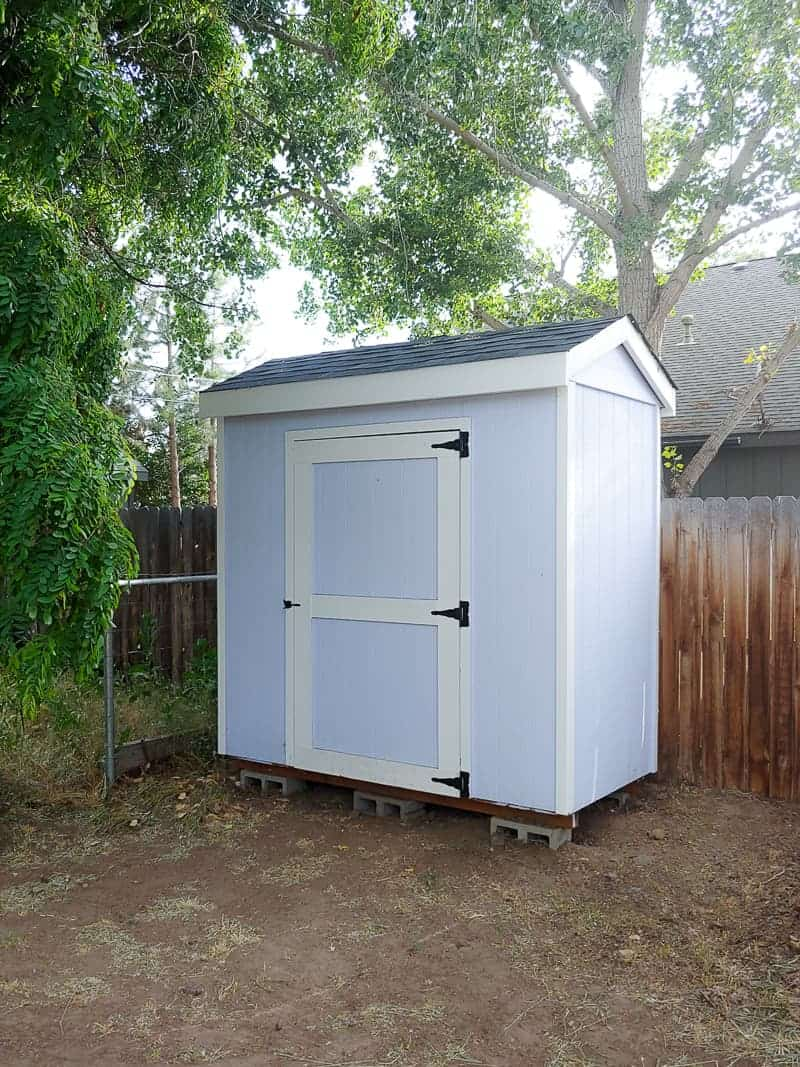Full image of a white farmhouse backyard shed