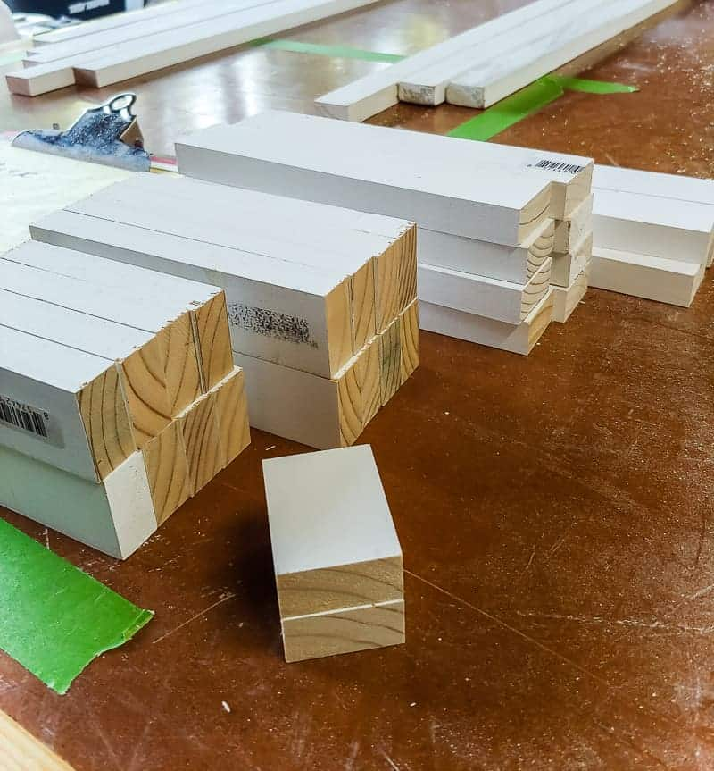 Different sizes of trim pieces on the table