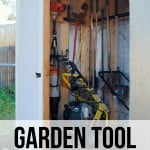 Side view of the backyard shed showing the organized garden tools and machines inside with a text overlay that says Garden Tool Storage Idea