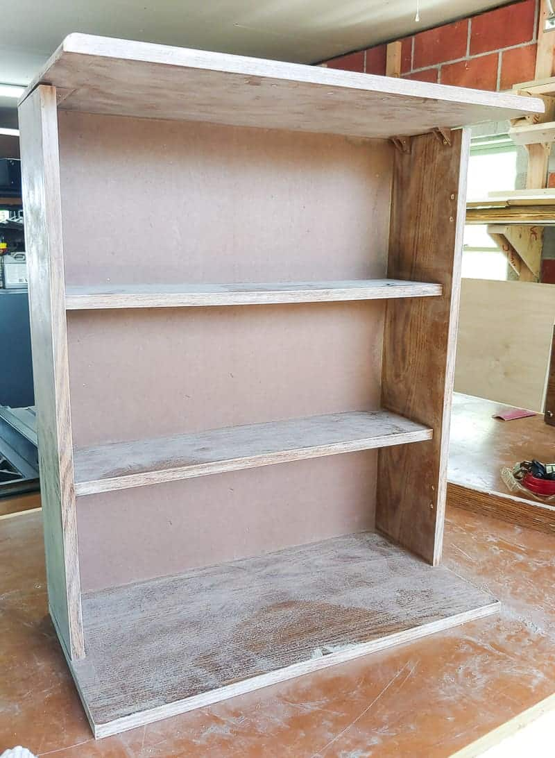 Fully sanded laminate cabinet before painting