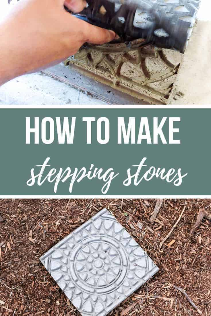 Photos of removing doormat and mold from the concrete and a finished garden stepping stone on the soil with text overlay that says How To Make Stepping Stones.