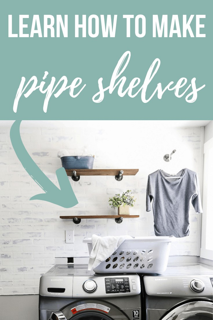 Want to learn how to make industrial style pipe shelves? these shelves are functional and stylish in this farmhouse style laundry room