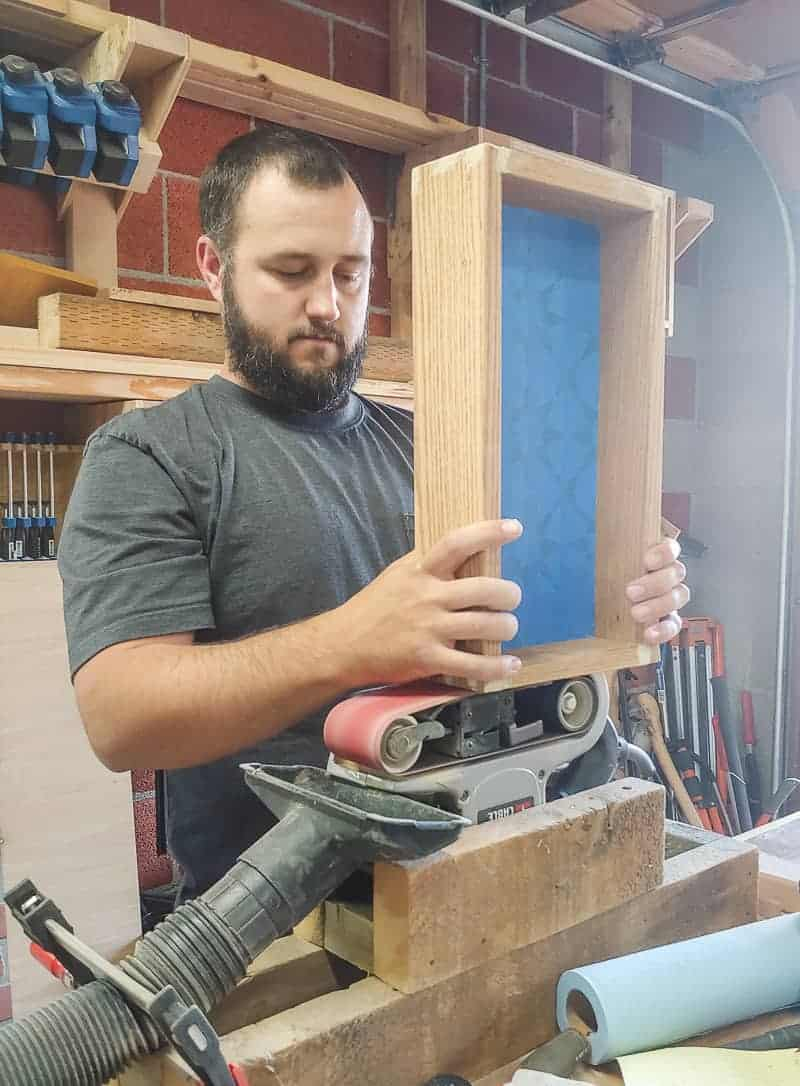 Sanding diy tray sides using belt sander